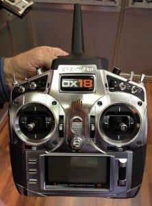 The Spektrum DX18 uses 10 fully proportional channels, with 8 assignable swithing channels